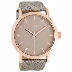 OOZOO Timepieces unisex ρολόι large με ροζ χρυσή μεταλλική κάσα και γκρι δερμάτινο λουράκι C8270