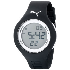 Puma ρολόι από ανθεκτικό πλαστικό με μαύρο λουράκι σιλικόνης PU910801017