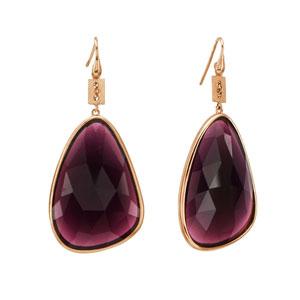 Oxette σκουλαρίκια 03X05-01693 από ροζ επιχρυσωμένο ασήμι 925ο με ημιπολύτιμες πέτρες (Κρύσταλλοι Quartz).