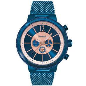 Ferendi ρολόι 5561-4 με blue alloy πλαίσιο και μπρασελέ.