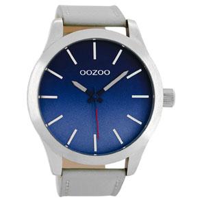 OOZOO Timepieces ανδρικό ρολόι XL με ασημί μεταλλική κάσα και γκρι δερμάτινο λουράκι C8555