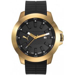 Puma ρολόι από χρυσό ανοξείδωτο ατσάλι με μαύρο λουράκι σιλικόνης PU103901004