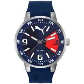 Puma ρολόι από ανοξείδωτο ατσάλι με μπλε λουράκι σιλικόνης PU104171003