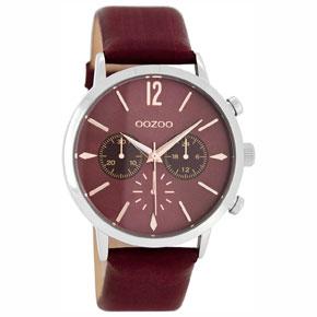OOZOO Timepieces unisex ρολόι με ασημί μεταλλική κάσα και μπορντώ δερμάτινο λουράκι C8245