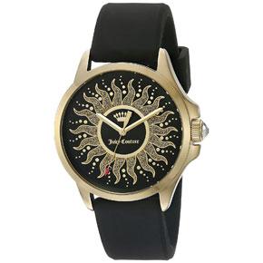 Juicy Couture ρολόι από χρυσό ανοξείδωτο ατσάλι με μαύρο λουράκι σιλικόνης 1901429