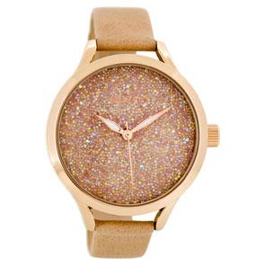 OOZOO Timepieces γυναικείο ρολόι XL με ροζ χρυσή μεταλλική κάσα και καφέ δερμάτινο λουράκι C8646