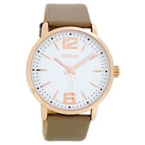 OOZOO Timepieces unisex ρολόι XL με ροζ χρυσή μεταλλική κάσα και απαλό καφέ δερμάτινο λουράκι C8506