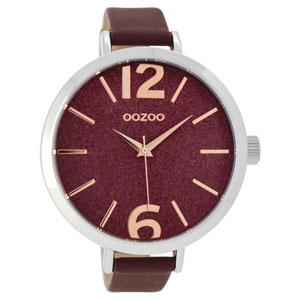 OOZOO Timepieces C9193 γυναικείο ρολόι XL με ασημί μεταλλική κάσα και μπορντώ δερμάτινο λουράκι
