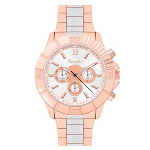Ferendi ρολόι 6689-5 με rose gold alloy πλαίσιο και μπρασελέ.