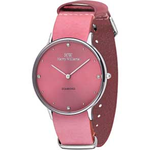 Harry Williams ρολόι από ανοξείδωτο ατσάλι με ροζ δερμάτινο λουράκι HW-2014L/42D