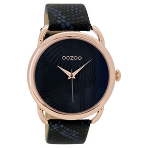 OOZOO Timepieces C9164 γυναικείο ρολόι με ροζ χρυσή μεταλλική κάσα και μαύρο δερμάτινο λουράκι