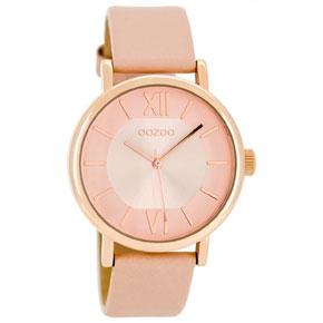 OOZOO Timepieces γυναικείο ρολόι με ροζ χρυσή μεταλλική κάσα και ροζ δερμάτινο λουράκι C8322