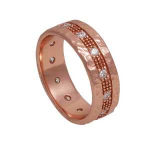 Χειροποίητο ασημένιο δαχτυλίδι Enigma με ροζ χρυσή επιμετάλλωση και ημιπολύτιμες πέτρες (ζιργκόν) Enigma-HR-59-P