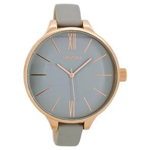 OOZOO Timepieces γυναικείο ρολόι XL με ροζ χρυσή μεταλλική κάσα και γκρι δερμάτινο λουράκι C8635