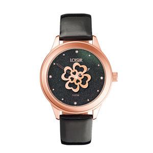Loisir ρολόι 11L65-00104 από ανοξείδωτο ατσάλι με ροζ χρυσή επιμετάλλωση στην κάσα και δερμάτινο λουράκι
