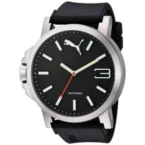 Puma ρολόι από ανοξείδωτο ατσάλι με μαύρο λουράκι σιλικόνης PU102941006