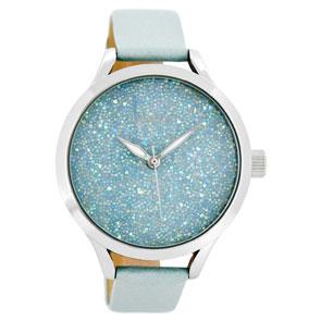 OOZOO Timepieces γυναικείο ρολόι XL με ασημί μεταλλική κάσα και θαλασσί δερμάτινο λουράκι C8645