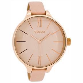 OOZOO Timepieces γυναικείο ρολόι XL με ροζ χρυσή μεταλλική κάσα και ροζ δερμάτινο λουράκι C8401