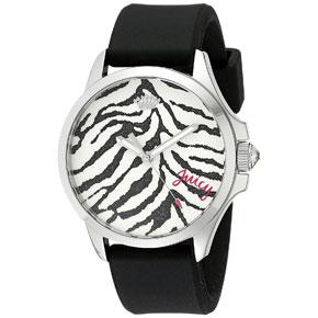 Juicy Couture ρολόι από ανοξείδωτο ατσάλι με μαύρο λουράκι σιλικόνης 1901323