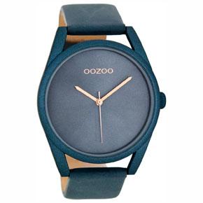 OOZOO Timepieces γυναικείο ρολόι XL με μπλε μεταλλική κάσα και μπλε δερμάτινο λουράκι C8398