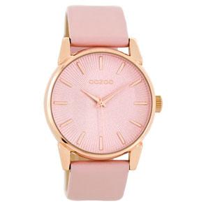 OOZOO Timepieces γυναικείο ρολόι με ροζ χρυσή μεταλλική κάσα και ροζ δερμάτινο λουράκι C8676