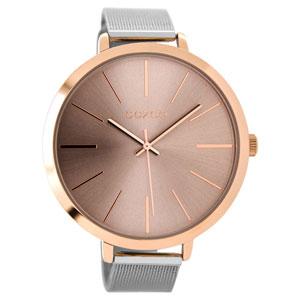 OOZOO Timepieces C9112 γυναικείο ρολόι XL με ροζ χρυσή μεταλλική κάσα και ασημί μπρασελέ