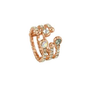 Loisir δαχτυλίδι 04L15-00057 από ροζ ορείχαλκο με ημιπολύτιμες πέτρες (Κρύσταλλοι Quartz)