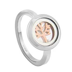 Loisir δαχτυλίδι 04L03-00260 δέντρο της ζωής από ανοξείδωτο ατσάλι (Stainless Steel) με ημιπολύτιμες πέτρες (Κρύσταλλοι Quartz) και Ion Plated Rose Gold