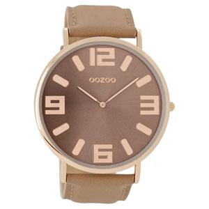 OOZOO Timepieces C8851 unisex ρολόι XL με ροζ χρυσή μεταλλική κάσα και ροζ δερμάτινο λουράκι