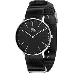 Harry Williams ρολόι από ανοξείδωτο ατσάλι με μαύρο υφασμάτινο λουράκι HW-2014M/08