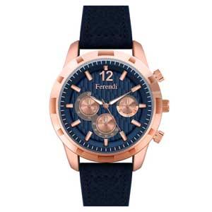 Ferendi ρολόι 3422-4 με rose gold alloy πλαίσιο και δερμάτινο λουράκι.