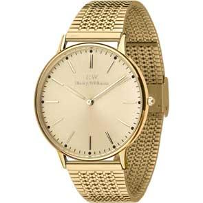 Harry Williams ρολόι από χρυσό ανοξείδωτο ατσάλι με μπρασελέ HW-2014L/31M