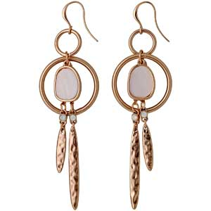Pilgrim σκουλαρίκια από ροζ επιχρυσωμένο ορείχαλκο με ημιπολύτιμες πέτρες (ορυκτοί κρύσταλλοι) 211714023