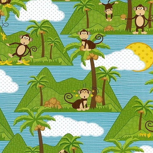 Monkey and islands kids fabric