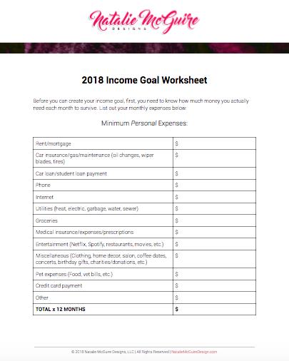 2018 Income Goal Guide