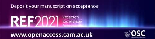 Banner advert and link to upload your manuscript to the repository on acceptance