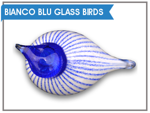 Bianco Blu Glass Birds