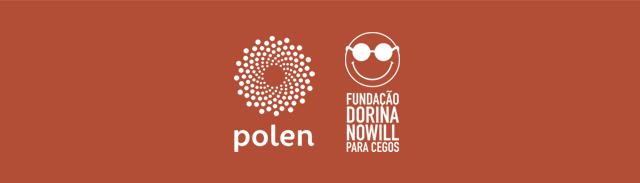 Fundo vermelho com logo do Polen e da Fundação Dorina na cor branca.