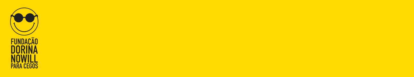 Retângulo amarelo, com logo da Fundação Dorina à esquerda, em linhas pretas.