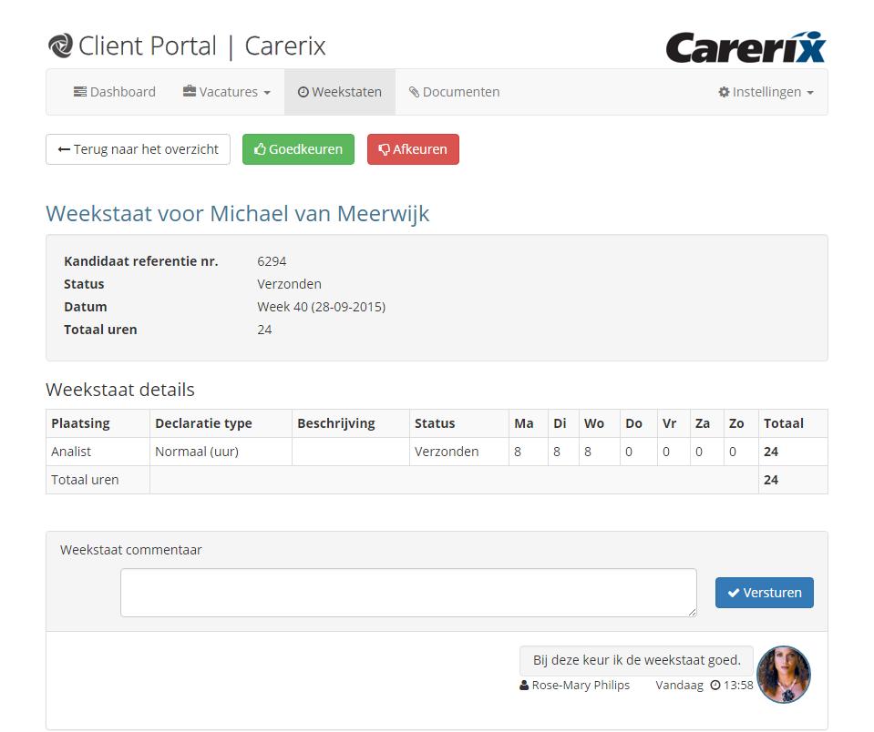 Client Portal - Geef uw klant real-time inzicht in de voortgang van openstaande vacatures en laat voorgestelde kandidaten beoordelen.