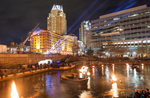 WaterFire's 2015 Salute to Veterans Lighting. Photograph by Erin Cuddigan.