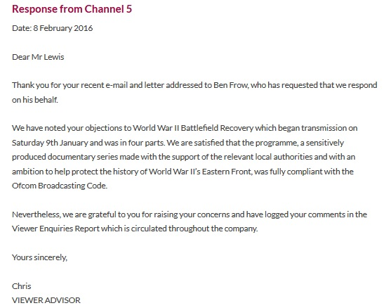 [Image of Channel 5's email]
