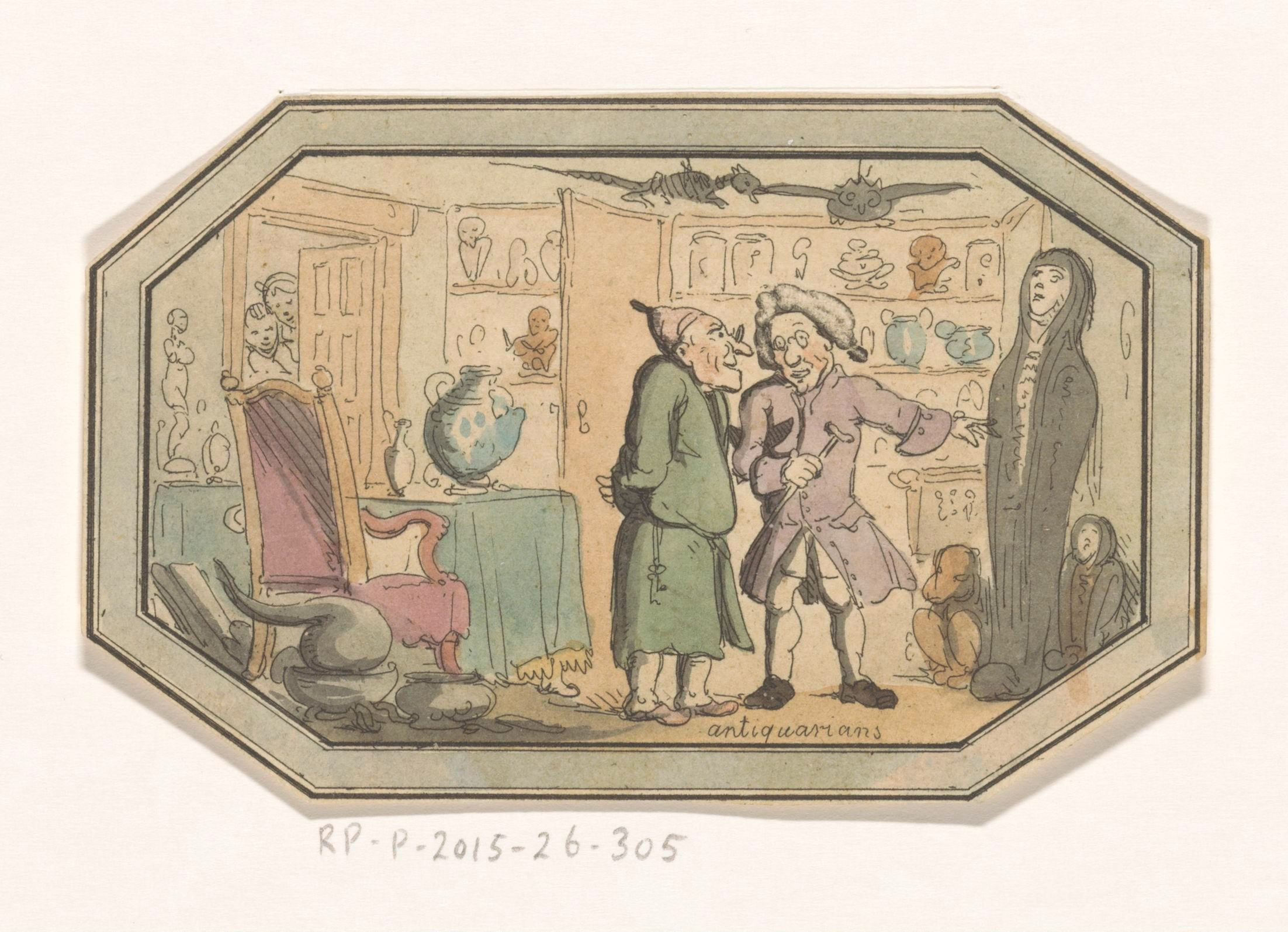 Satire of eighteenth-century Antiquaries, Rijksmuseum, RP-P-2015-26-305.