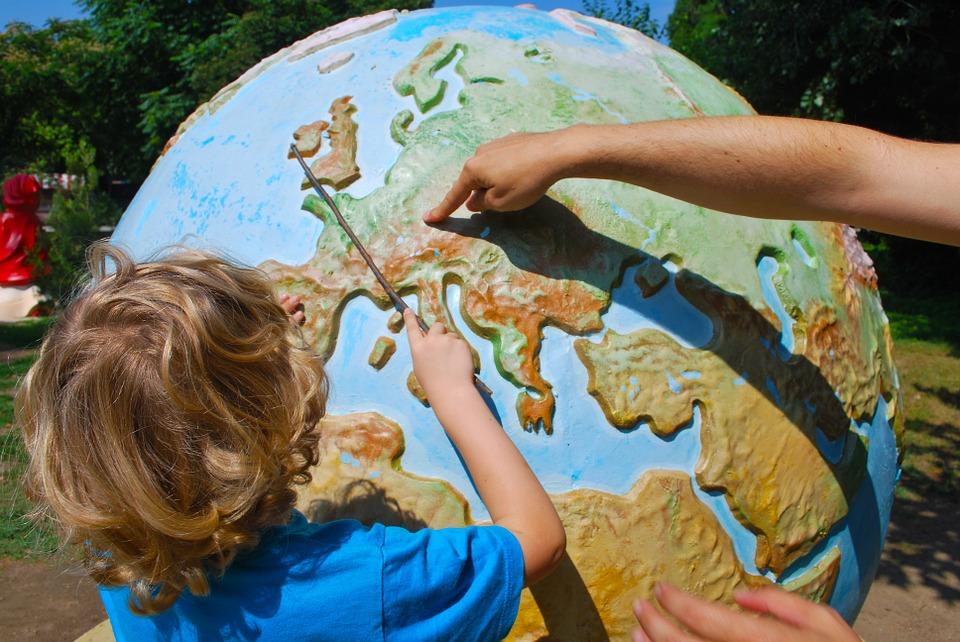 Child with globe