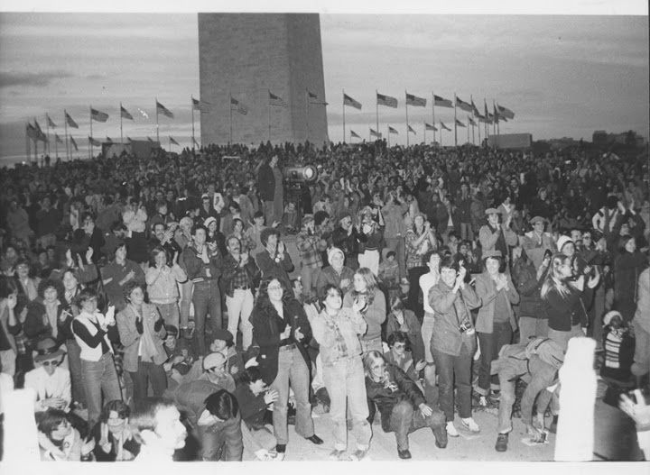 The crowd gathers on the National Mall for the first National March on Washington for Lesbian and Gay Rights. October 14, 1979. Courtesy of ONE National Gay & Lesbian Archives at USC Libraries.