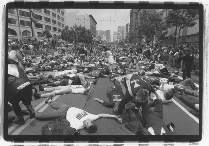"""Die-in"" during the 6th Annual AIDS Conference in San Francisco. June 17-24, 1990. Courtesy of ONE National Gay & Lesbian Archives at USC Libraries."