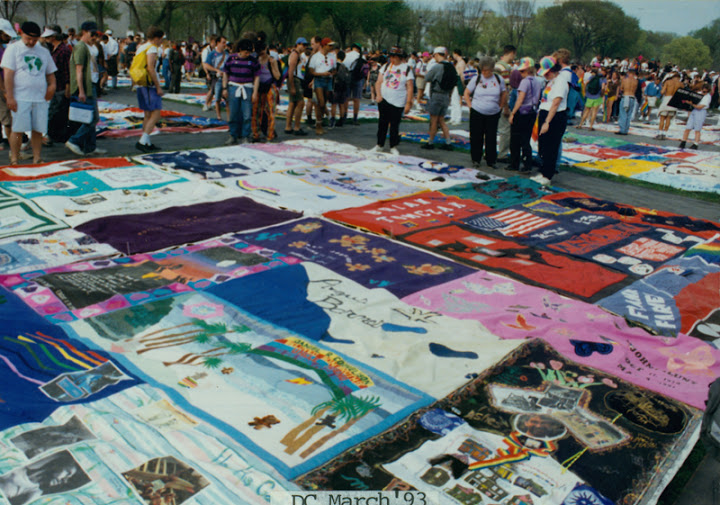 The Names Project AIDS Memorial Quilt laid out on the National Mall at the March on Washington for Lesbian, Gay, and Bi Equal Rights and Liberation. April 25, 1993. Courtesy of ONE National Gay & Lesbian Archives at USC Libraries.