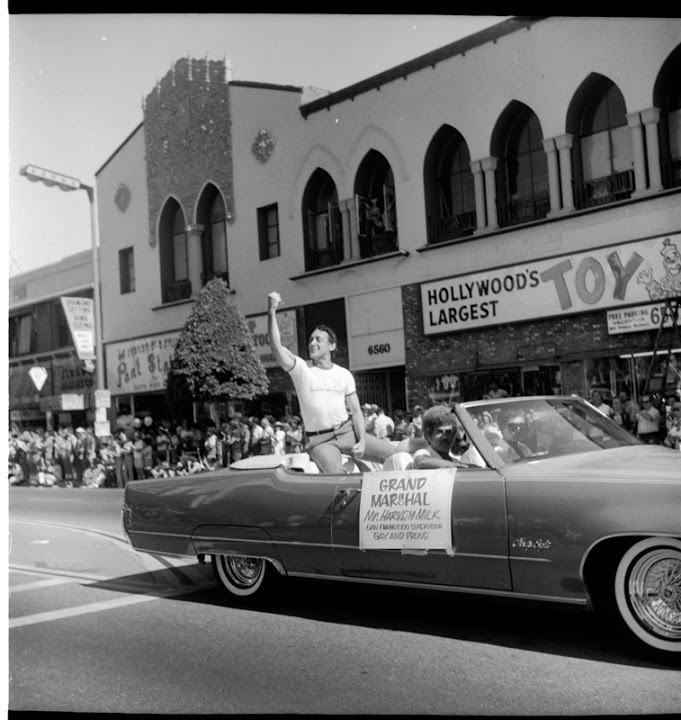 San Francisco Supervisor Harvey Milk as the Grand Marshall of the Christopher Street West pride parade in Los Angeles. June 1978. Courtesy of ONE National Gay & Lesbian Archives at USC Libraries.