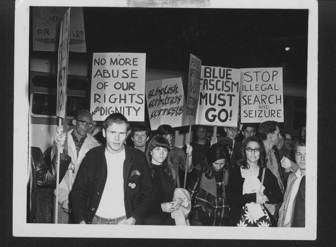 In 1967, PRIDE (Personal Rights in Defense and Education) led hundreds in protest of a police incursion into the Black Cat bar in Los Angeles that left numerous injured and a bartender in critical condition. Courtesy of ONE National Gay & Lesbian Archives at USC Libraries.
