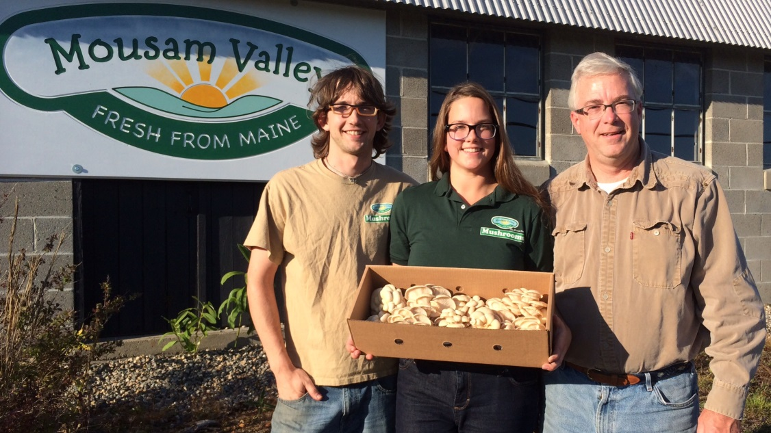 Robert, Emily and John Sharood at Mousam Valley Mushrooms in Springvale, Maine